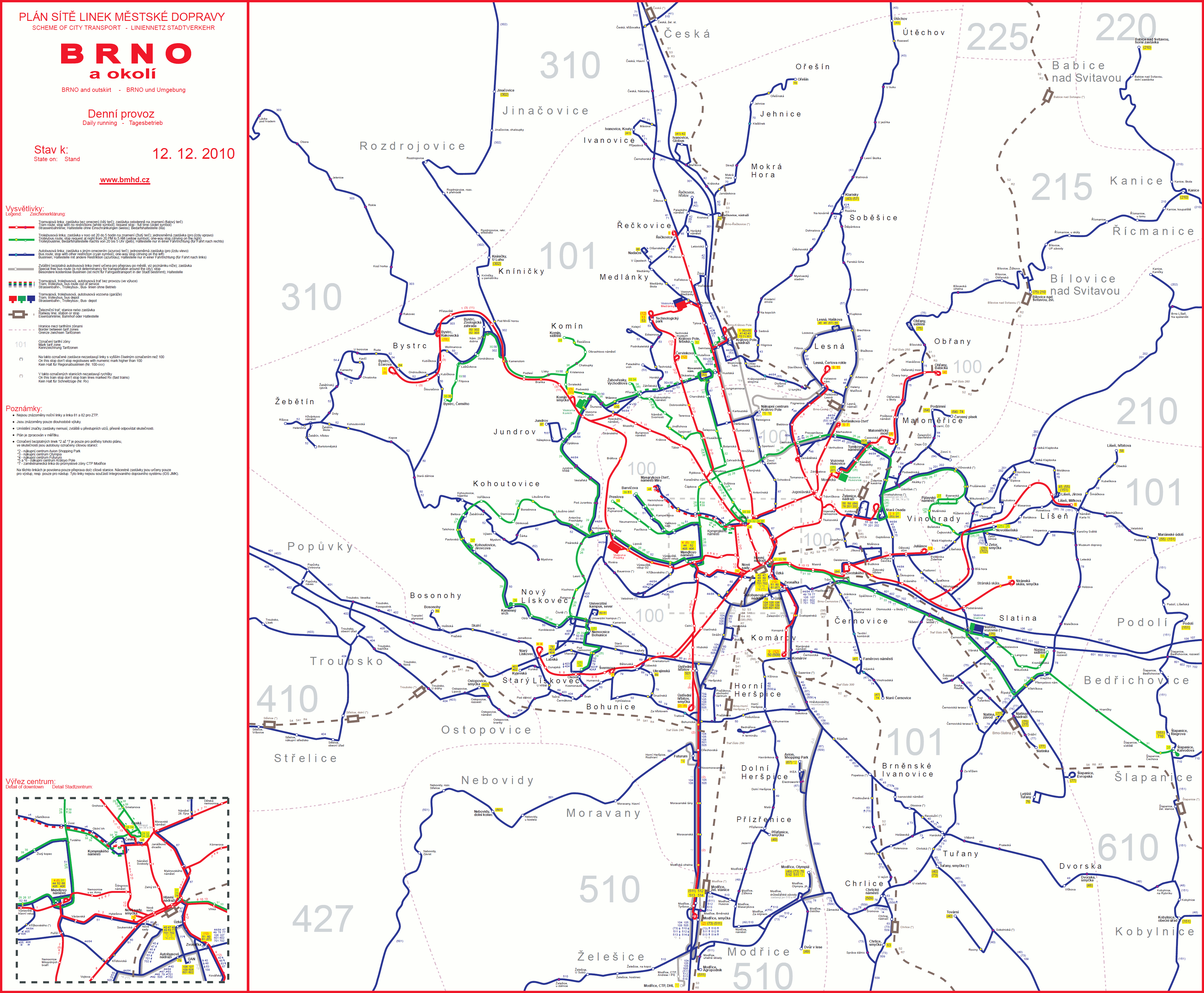 Mapa uzavírek brno