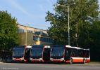 Nové autobusy SOR NS 12 ev. č. (zleva) 7694, 7687 a 7690 ve vozovně Medlánky
